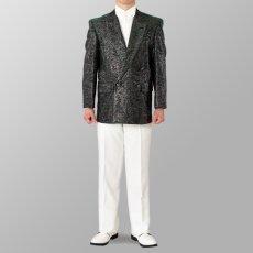 ステージ衣装 カラオケ衣装 セットアップ例 シルバー×グリーン 銀色×緑 スーツ