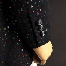袖ボタン ブラック 黒 水玉