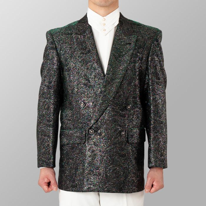 ステージ衣装 カラオケ衣装 シルバー×グリーン 銀色×緑 ジャケット