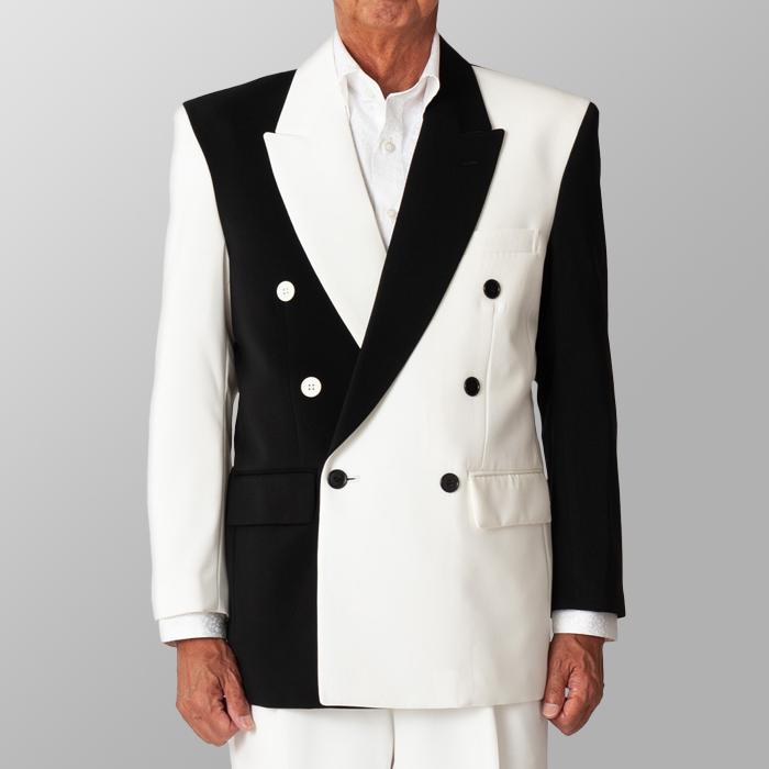 ステージ衣装 カラオケ衣装 ホワイトXブラック 白X黒 ジャケット