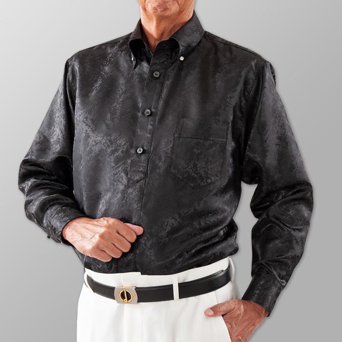 ステージ衣装 ブラック 黒 ボタンダウンシャツ