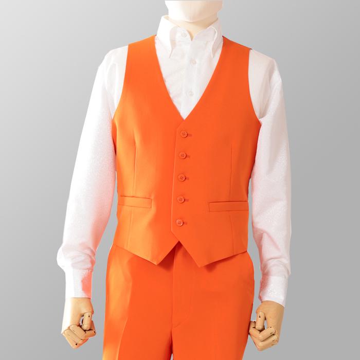 ステージ衣装 カラオケ衣装 ダンス衣装 オレンジ 橙色 ベスト